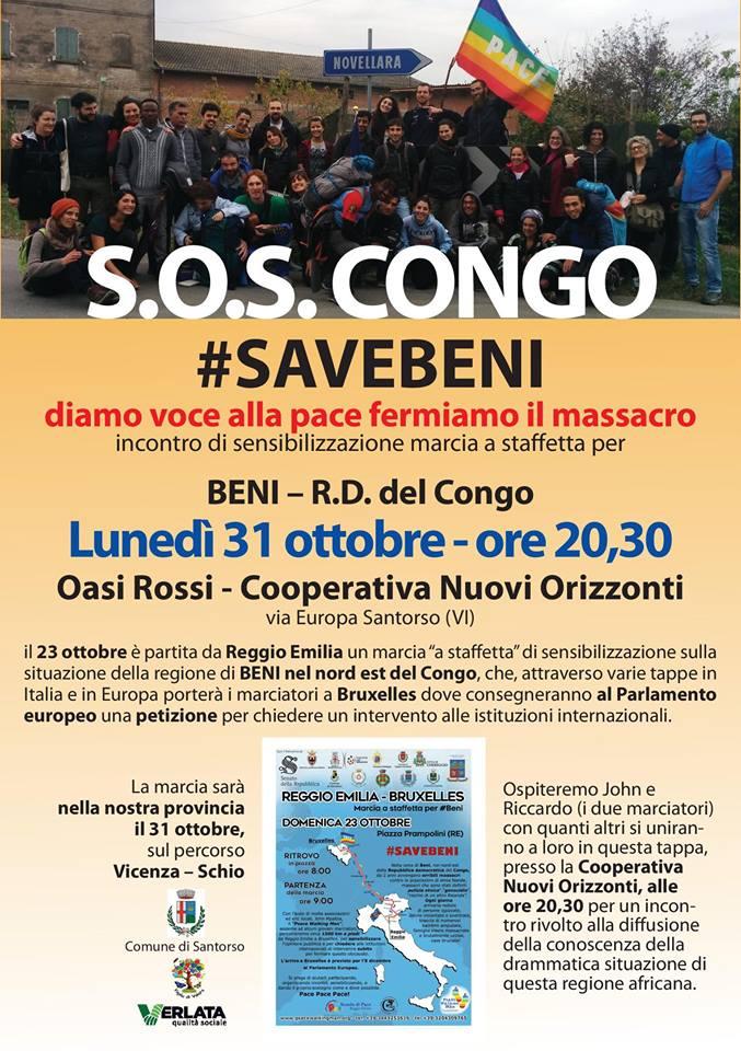 Locandina dell'incontro SOS Congo #Savebeni a Santorso