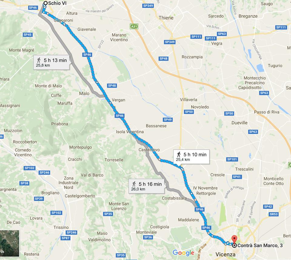 """Percorso della tappa altovicentina dellla marcia """"Reggio Emilia - Bruxelles"""" PeaceWalkingMan"""
